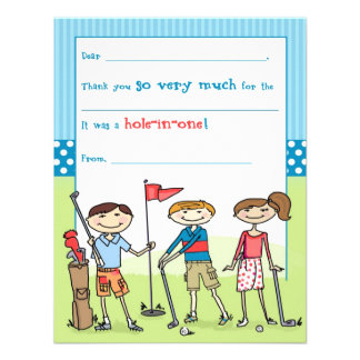 Golfing Kids Fill-in-the-Blank Note Cards Announcements