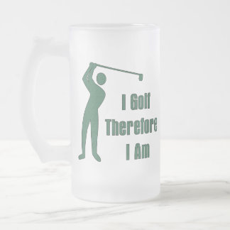Golfing Philosophy Frosted Glass Beer Mug