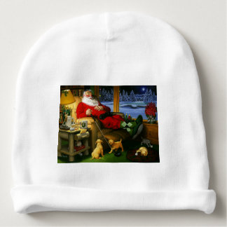 Golfing Santa on a Baby Hat Baby Beanie