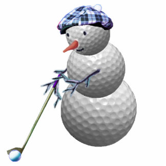 golfing snowman christmas photo sculpture ornament