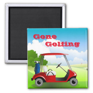 Golfing Square Magnet