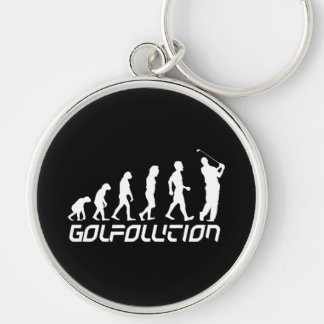 Golfolution Silver-Colored Round Keychain
