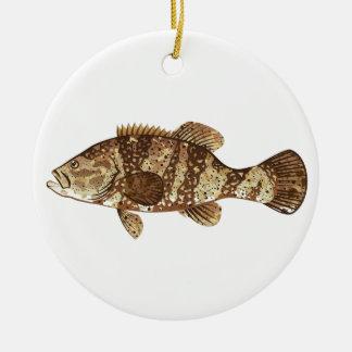 Goliath Grouper Gamefish ocean vector illustration Ceramic Ornament