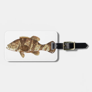 Goliath Grouper Gamefish ocean vector illustration Luggage Tag