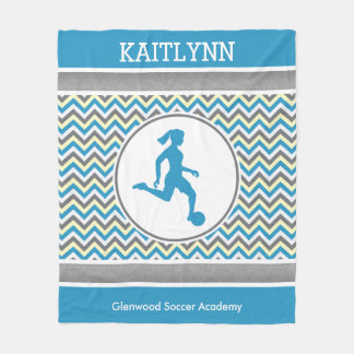 Golly Girls Blue Chevron Stripes Soccer With Name Fleece Blanket