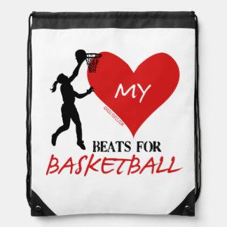 Golly Girls - My Heart Beats for Basketball Drawstring Bag