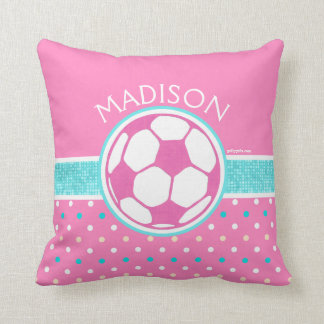 Golly Girls: Pink and Teal Soccer Ball Monogrammed Throw Pillow