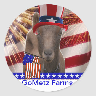 GoMetz Farms Laporte, Indiana  2013 PATRIOTIC GOAT Round Sticker