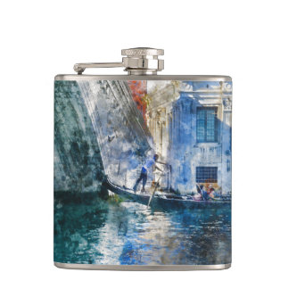 Gondola in the Grand Canal of Venice Italy Hip Flask
