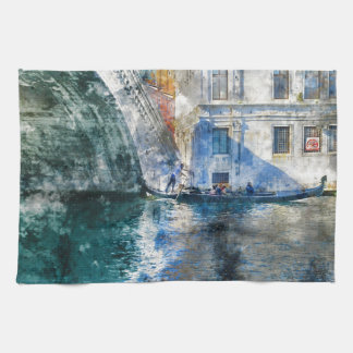 Gondola in the Grand Canal of Venice Italy Kitchen Towel