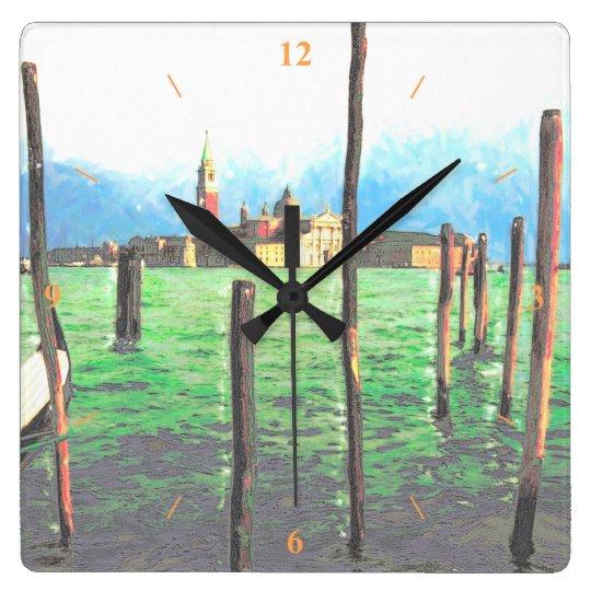 Gondola Moorings in Venice Clock