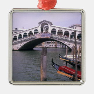 Gondolas and tourists near the Rialto Bridge Metal Ornament