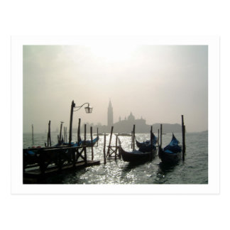 gondolas early morning postcard