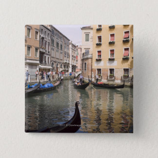 Gondolas in a canal, Venice, Italy 2 Inch Square Button
