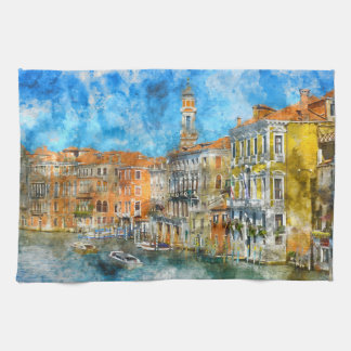 Gondolas in the Grand Canal in Italy Kitchen Towel