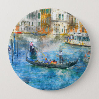 Gondolas in the Grand Canal of Venice Italy 4 Inch Round Button