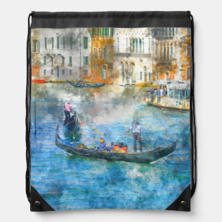 Gondolas in the Grand Canal of Venice Italy Drawstring Bag