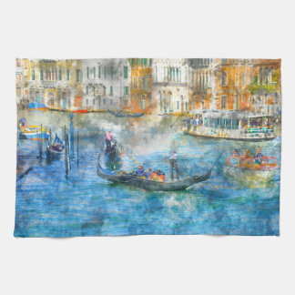 Gondolas in the Grand Canal of Venice Italy Kitchen Towel