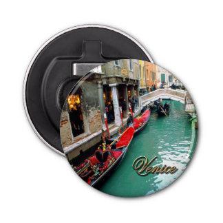 Gondolas on a Venetian canal Button Bottle Opener