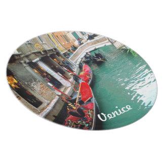Gondolas on a Venetian canal Dinner Plates