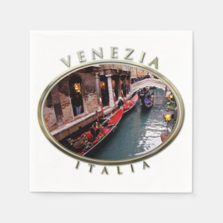 Gondolas on a Venetian canal Disposable Napkins