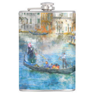 Gondolas on the Grand Canal in Venice Italy Hip Flask