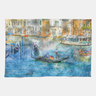 Gondolas on the Grand Canal in Venice Italy Kitchen Towel