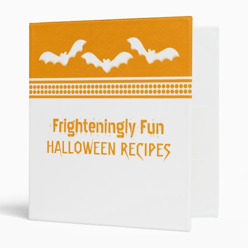 Gone Batty Halloween Binder (1 inch), White/Orange