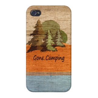Gone Camping Wood Look Nature Lovers Cases For iPhone 4