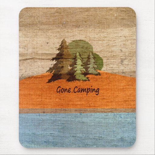 Gone Camping Wood Look Nature Lovers Mousepad