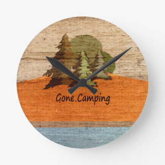 Gone Camping Wood Look Nature Lovers Wallclock