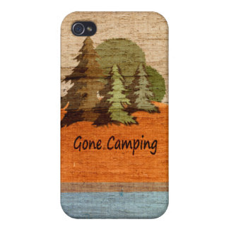 Gone Camping Wood Look Tent and Trees iPhone 4/4S Cases