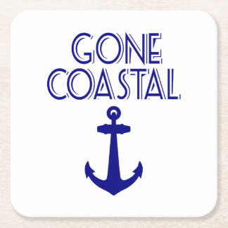 Gone Coastal Navy Blue Anchor Square Paper Coaster