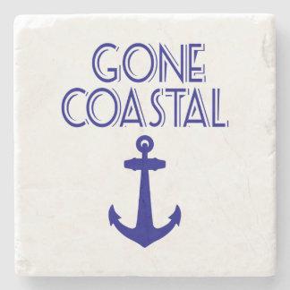Gone Coastal Navy Blue Anchor Stone Beverage Coaster