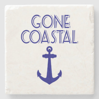 Gone Coastal Navy Blue Anchor Stone Coaster