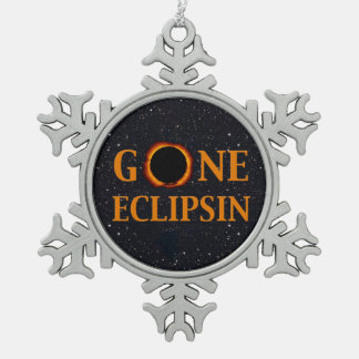 GONE ECLIPSIN Solar Eclipse Snowflake Pewter Christmas Ornament