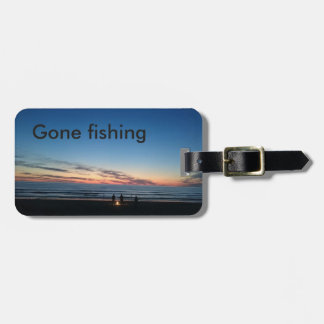 Gone fishing beach baggage bag label. luggage tag
