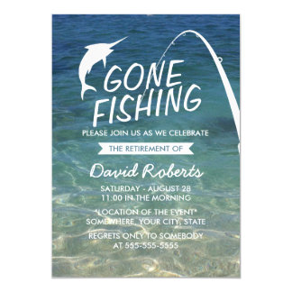 """Gone Fishing Beach Retirement Party 5"""" X 7"""" Invitation Card"""