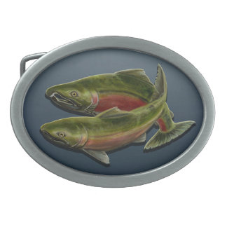 Gone Fishing Belt Buckle Coho Salmon Fish Buckles
