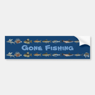 Gone Fishing Bumper Sticker 2
