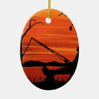 Gone Fishing Ceramic Ornament