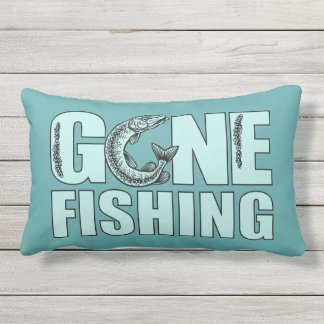 GONE FISHING custom color throw pillow