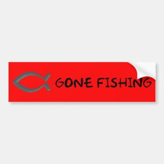 GONE FISHING FUNNY JESUS BUMPER STICKER
