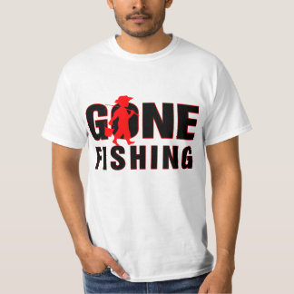 Gone Fishing-Red & Black Text Design T-Shirt