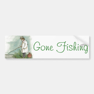 Gone Fishing Vintage Drawing Bumper Sticker
