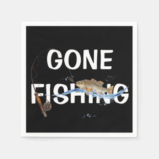 gone fishing with fish on hook paper napkins
