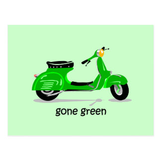 gone green scooter postcard