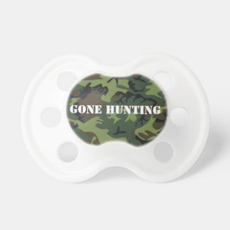 Gone hunting green camo pacifier