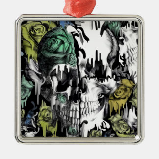 Gone in a splash skull pattern Silver-Colored square ornament