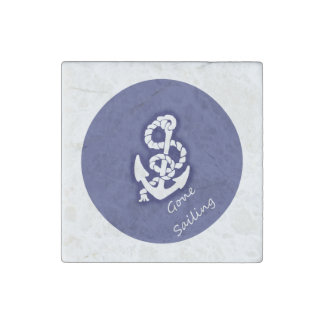 Gone Sailing White Anchor on Nautical Blue Stone Magnets
